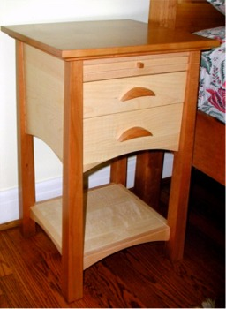 custom made cherry and tiger maple nightstands