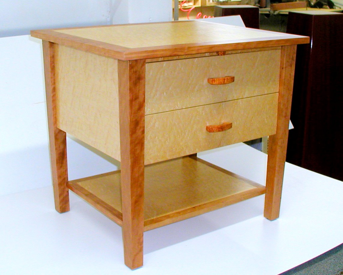 custom made curly cherry and birds eye maple nightstands