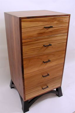 custom made walnut lingerie dresser with red gum drawers