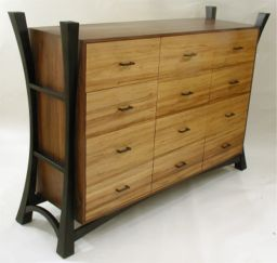 custom made walnut and red gum dresser