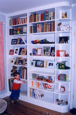 Traditional style bookcase for a childs rooml custom made by RJ Fine Woodworking