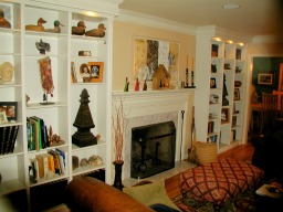 Traditional stylefireplace manel and bookcase custom made by RJ Fine Woodworking