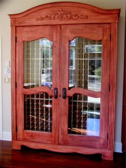 Wine storage refrigerator custom made by RJ Fine Woodworking
