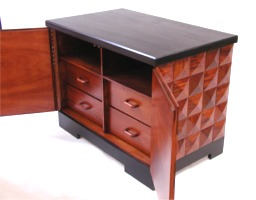 Custom made mahogany faceted nightstand cabinet by RJ Fine