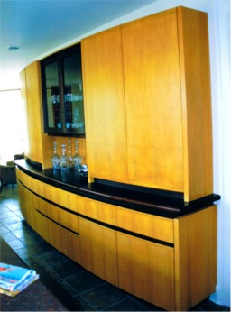 Custom buffet cabinet in maple and cherry by rj fine for Catalyzed lacquer kitchen cabinets