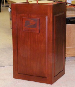 custom made mahogany podium by RJ Fine Woodworking