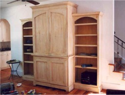 custom made entertainment center in pine