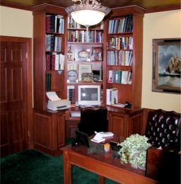 Home office corner computer desk custom made by RJ Fine Woodworking