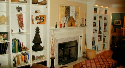 custom fireplace mantle and bookcase cabinets by RJ Fine Woodworking