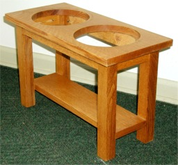 Dog dish stand custom made  by RJ Fine Woodworking