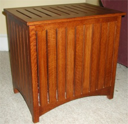 clothes hamper custom made  by RJ Fine Woodworking