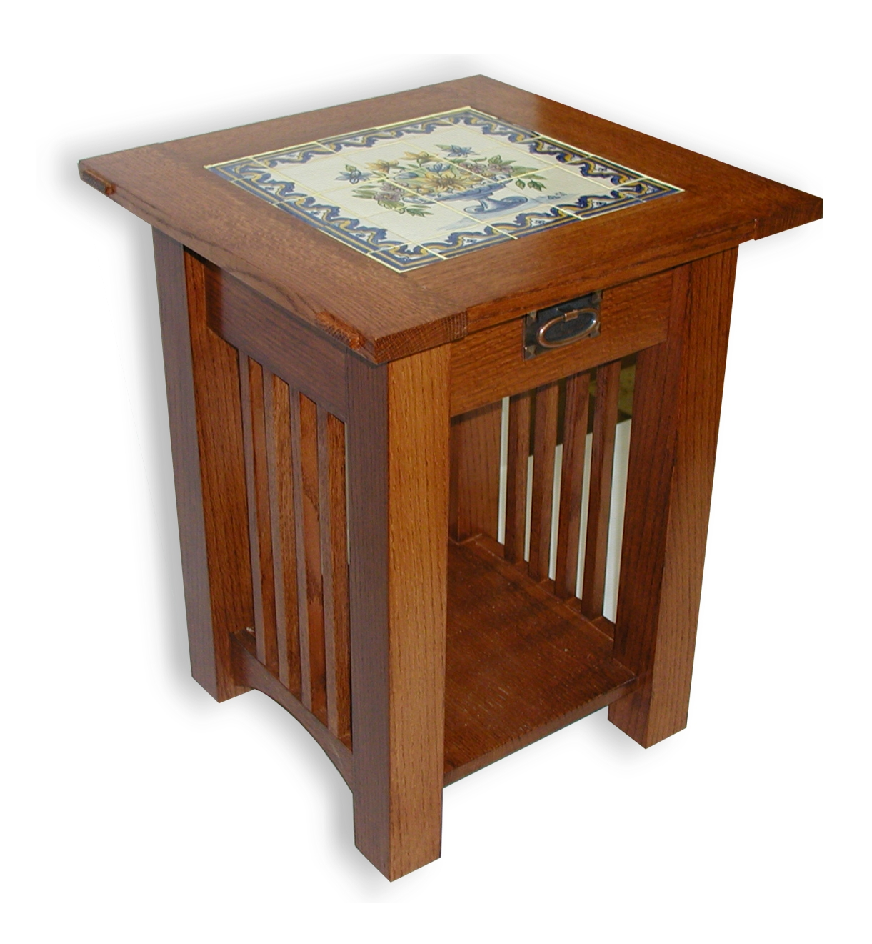 Custom Made Mission Style Tile Top End Table