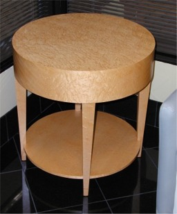 Birdseye maple round end table