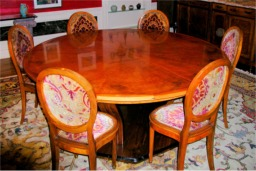 custom burl dinning Table by RJ Fine Woodworking