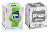 tissue box cube size in kleenex and puff brand