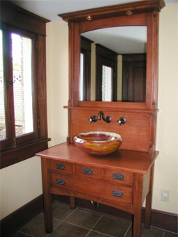 arts and crafts syle vanity with onyx bowl custom made by